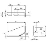 Fundamentwinkel, Fundamentverbinder, Bodenverbinder, Aluminiumprofile, galvanisch, verzinkt, Stahl, 1210 S 160 R VZ 01,1210 S 210 R VZ 01
