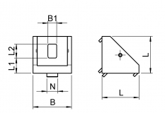 Eckwinkel, Druckguss, 27 x 27 x 28, Nut 8, Aluminium, grau, TecEnMa