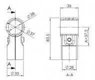 Verbinder 90° 1-fach mit Kunststoffeinlage Verbinder-90° Verbinder-90-Grad 5013-S-001-SW-01