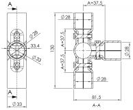 Verbinder 90° 3-fach Verbinder-90° T-Verbinder 5016-S-001-SW-01