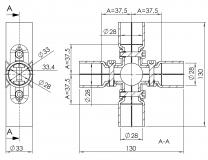 Verbinder-90°-4-fach Rohrprofilsystem 5017-S-001-SW-01