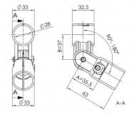 Gelenkverbinder-1-fach Rohrverbinder 5023-S-001-SW-01