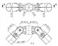 Gelenkverbinder 2-fach Rohrverbinder Gelenk 5024-S-001-SW-01
